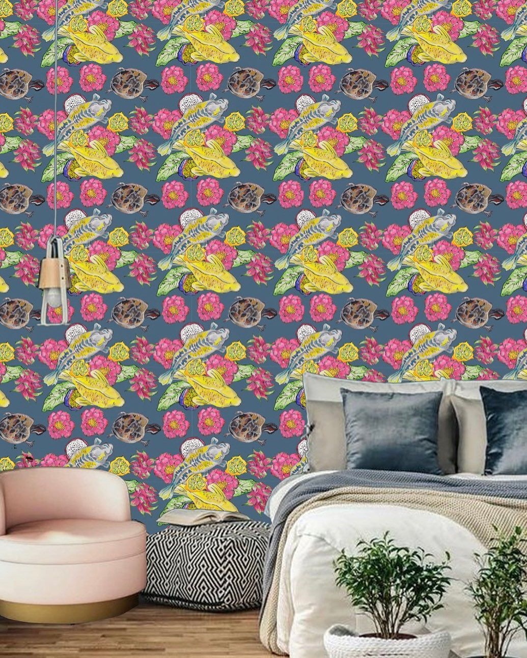 Eva Walmsley On Instagram Blue Yellow Floral Wallpaper Style