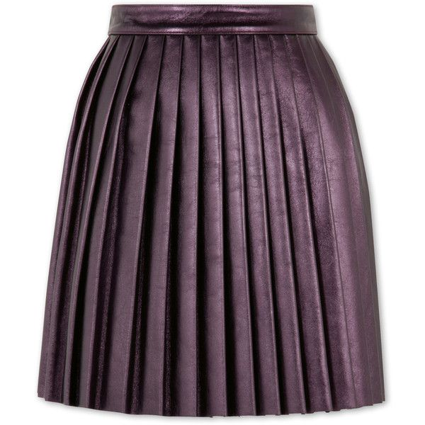 House of Holland Pleated Leather Skirt - RESTIR Online Boutique ❤ liked on Polyvore featuring skirts, purple skirt, purple leather skirt, purple pleated skirt, knee length leather skirt and house of holland