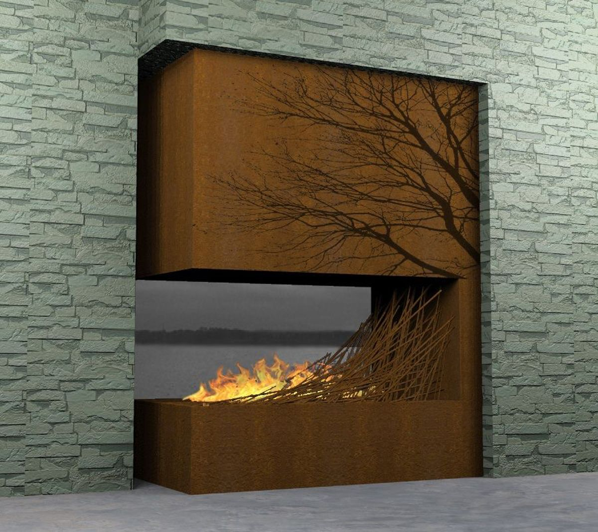 Modern fireplaces nice contemporary wooden fireplace one of 7 total images modern home - Build contemporary fireplace ideas ...