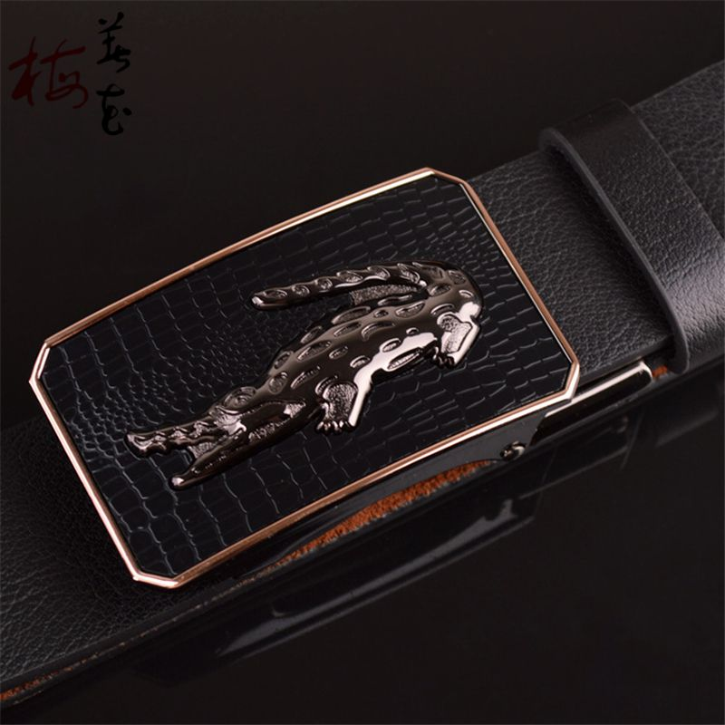 9ea429e910d Aliexpress.com   Buy New Style Designer Belts For Men High Quality Genuine  Leather Toothless Plate Buckle Automatic Belts Black Strap Jeans Waistband  from ...