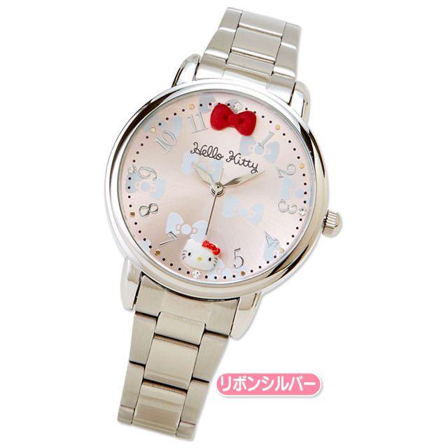 bda49ad6a Hello Kitty Deco Watch Wristwatch Decoration Ribbon Silver SANRIO ...