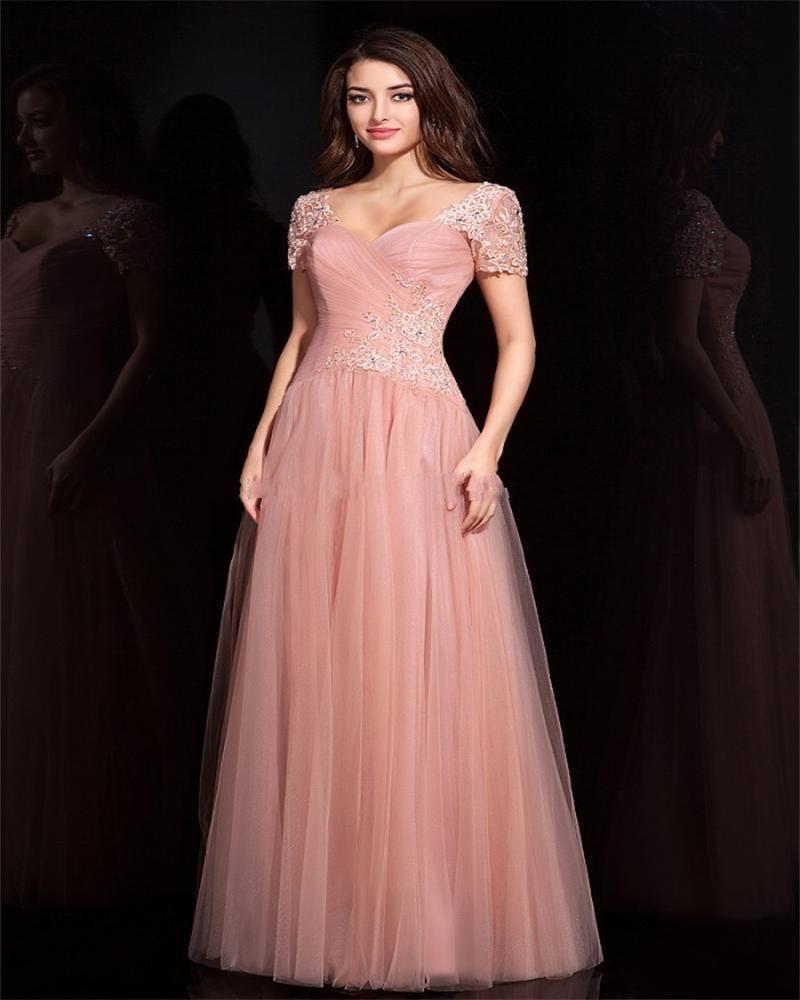 Barato Elegante Cap manga vestidos dama de honra cor pêssego ...