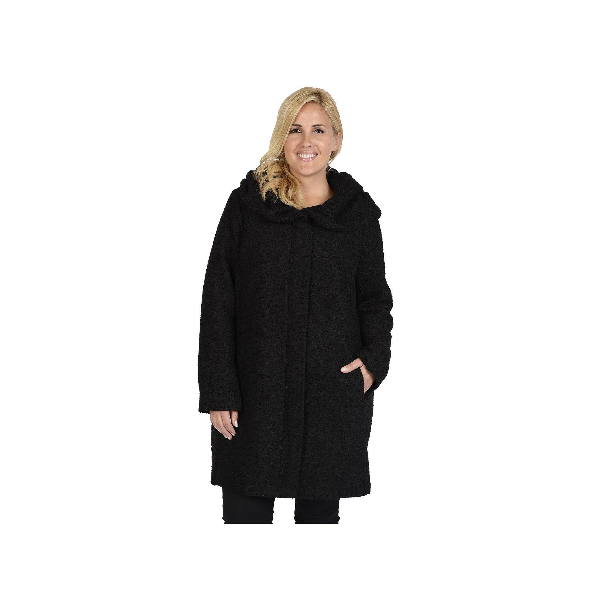 Excelled Plus Size Excelled Hooded Boucle Jacket