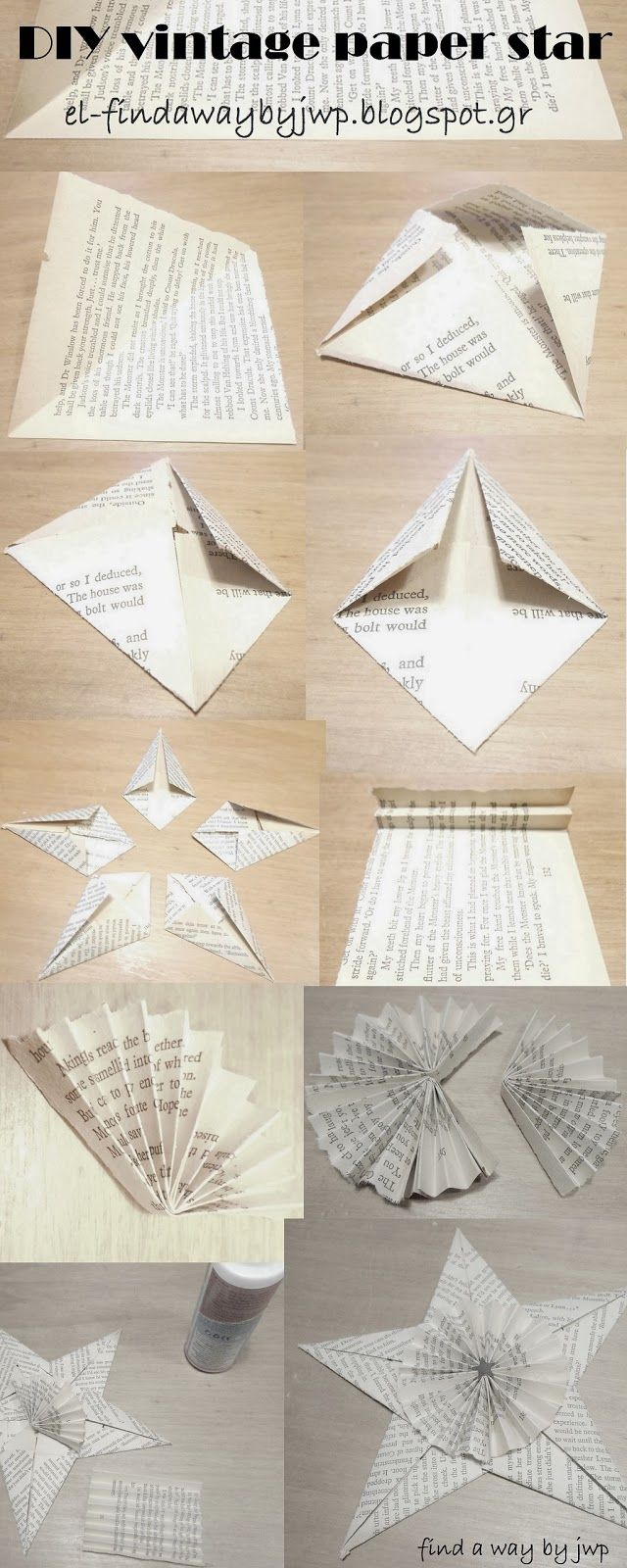 diy vintage christmas paper ornament how to make a star origami pinterest weihnachten. Black Bedroom Furniture Sets. Home Design Ideas