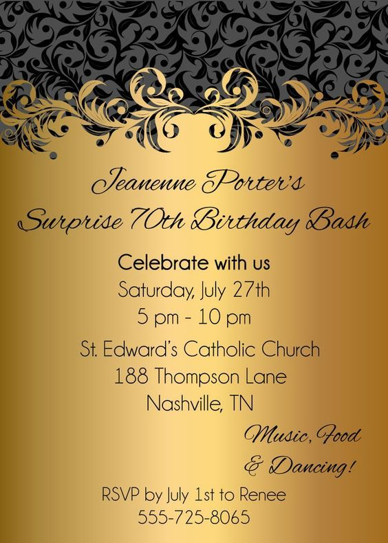 fabuloussurprise70thbirthdaybashinvitationideagoldandgrey – Digital Birthday Invitations