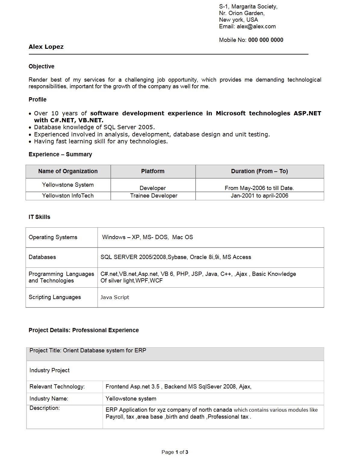Job resume samples Job resume Resume format Software