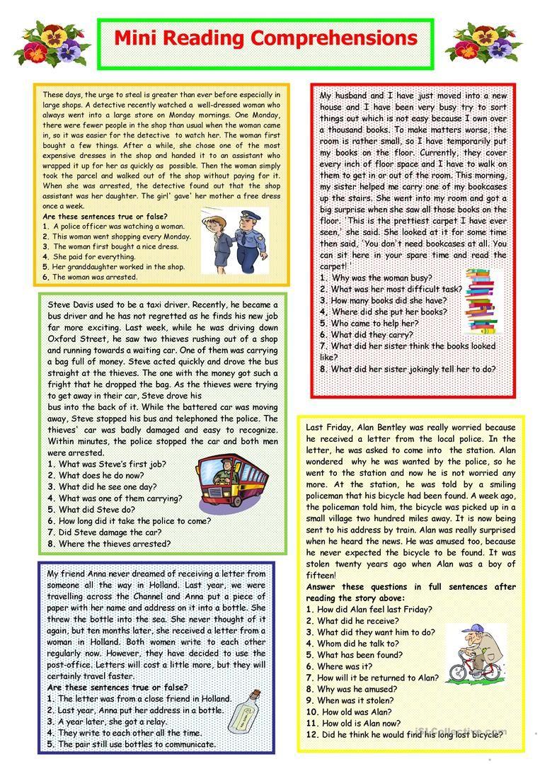 Mini Reading Comprehensions worksheet Free ESL printable