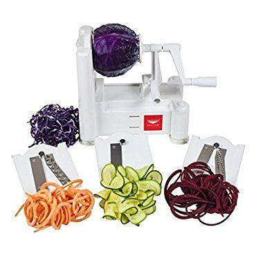 Paderno World Cuisine A4982799 Tri-Blade Vegetable Spiral Slicer
