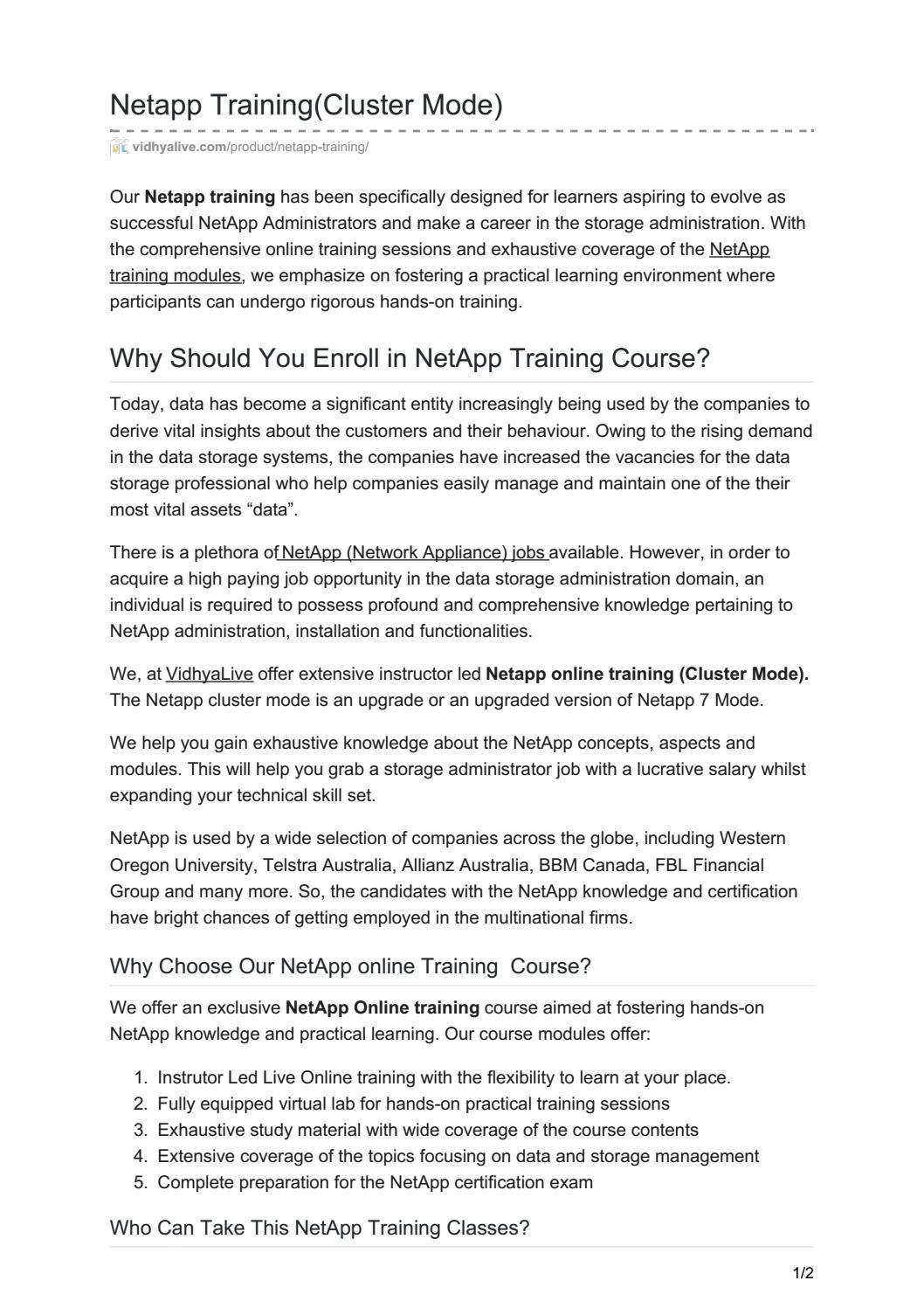 Netapp Cluster Mode Training 100 Job Oriented Hands On Exp