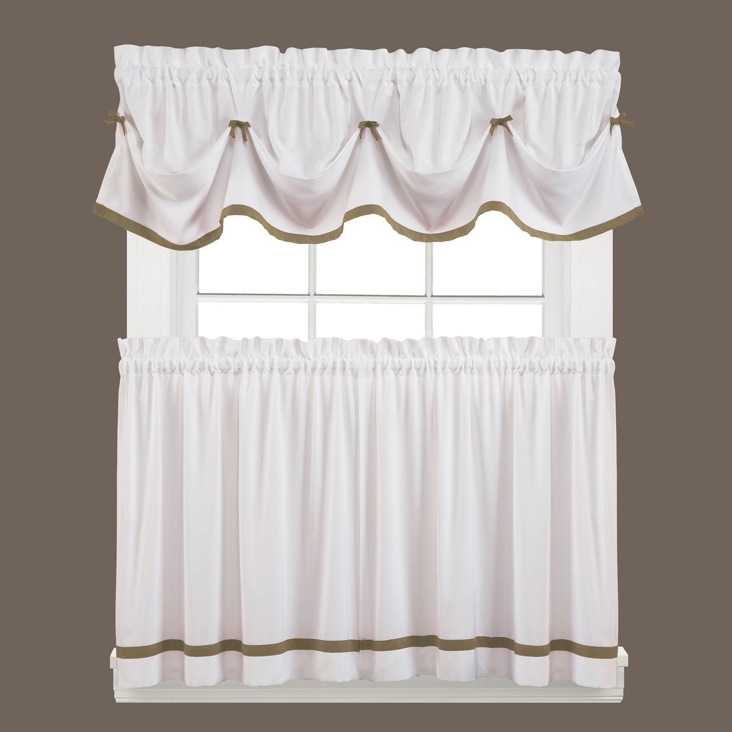 Kate Natural Striped Kitchen Curtain Tier Set