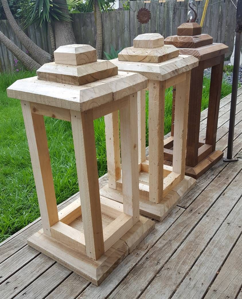 How many large lanterns does one need Just as easy to make several once you set up your drop saw for the cut lengths Base & top 200mm x 50mm and uprights 50mm x 50mm finished with an exterior wood stain Oak colour