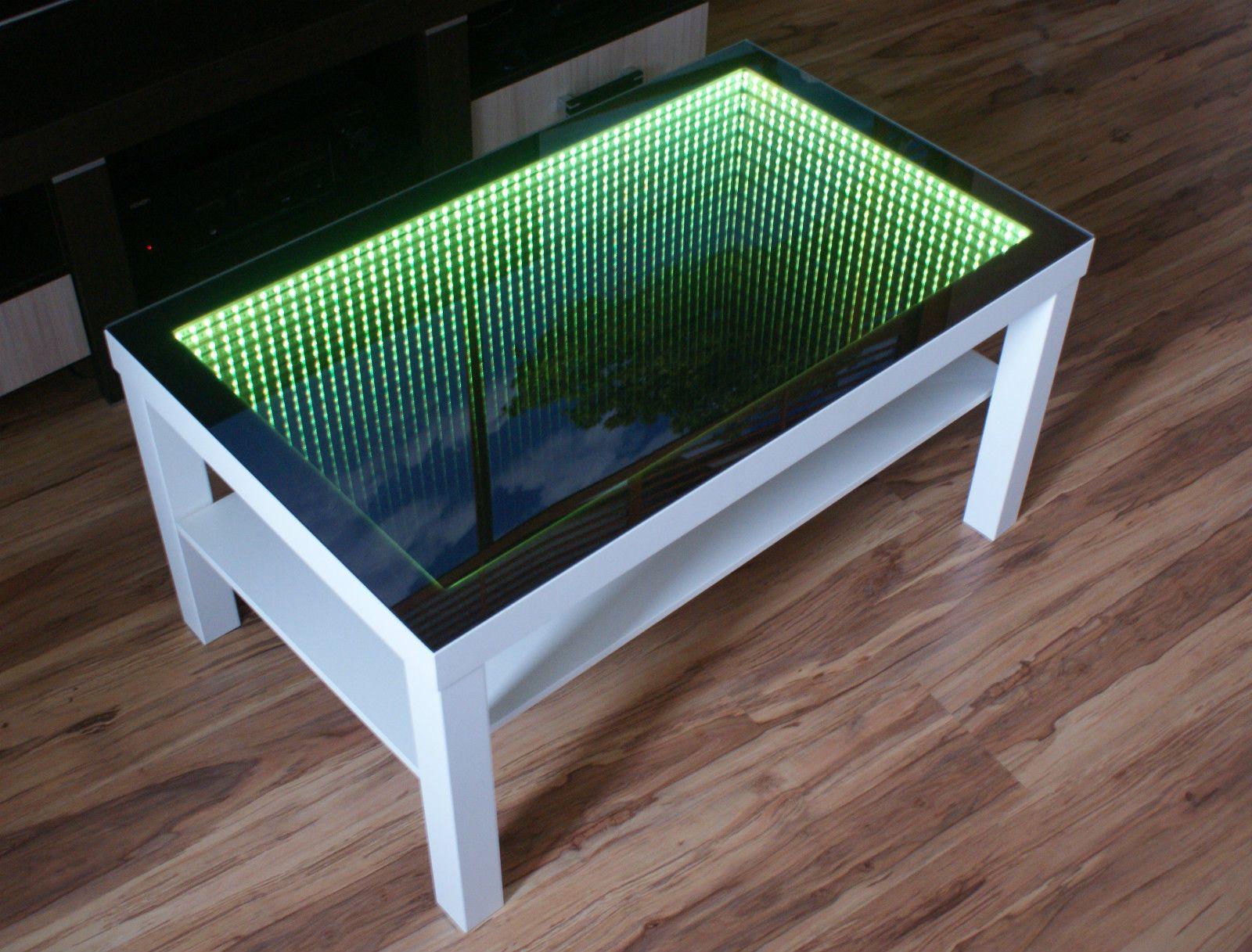 White Table Led 3d Coffee Table Illuminated Infinity Mirror Effect Remote Rf Espelho Infinito Grandes Ideias Mesa De Vidro [ 1217 x 1600 Pixel ]