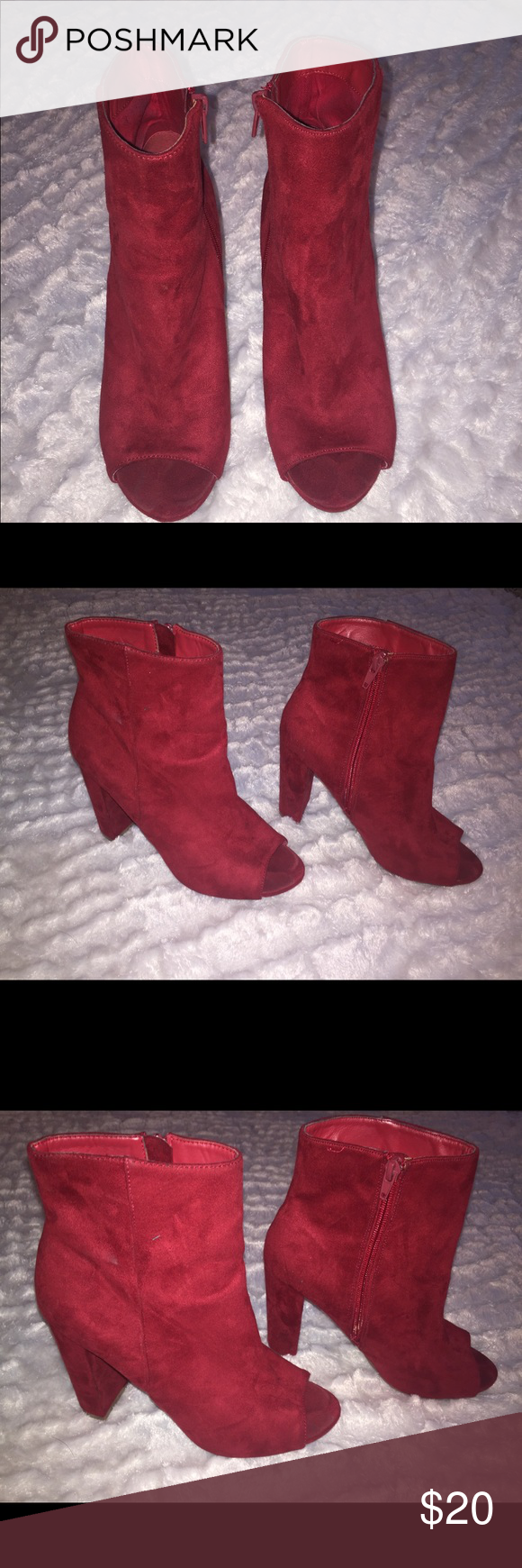 fb50711e6589 Peep toe ankle boots Red faux suede Perfect with jeans Worn once ...