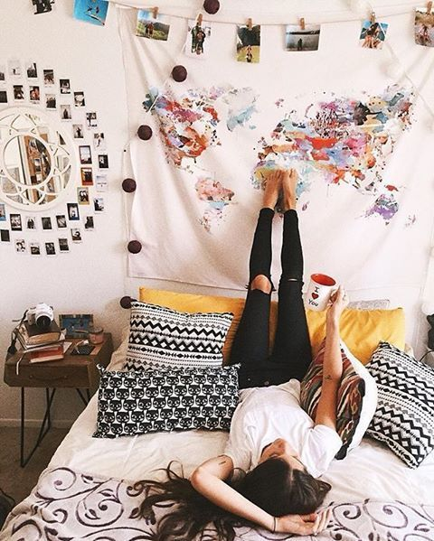 Insta worthy room decos to satisfy your inner traveller girlslife ahh i love this map tapestry hanging a tapestry is an easy way to decorate your dorm room on a budget gumiabroncs Images