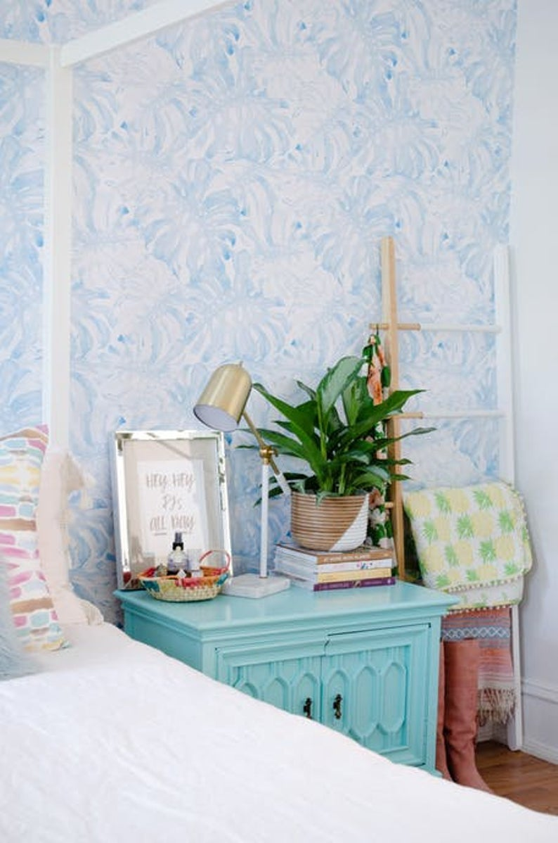 Removable Wallpaper With Baby Blue Monstera Leaves Pattern Etsy Tropical Wall Decals Removable Wallpaper Baby Blue Wallpaper