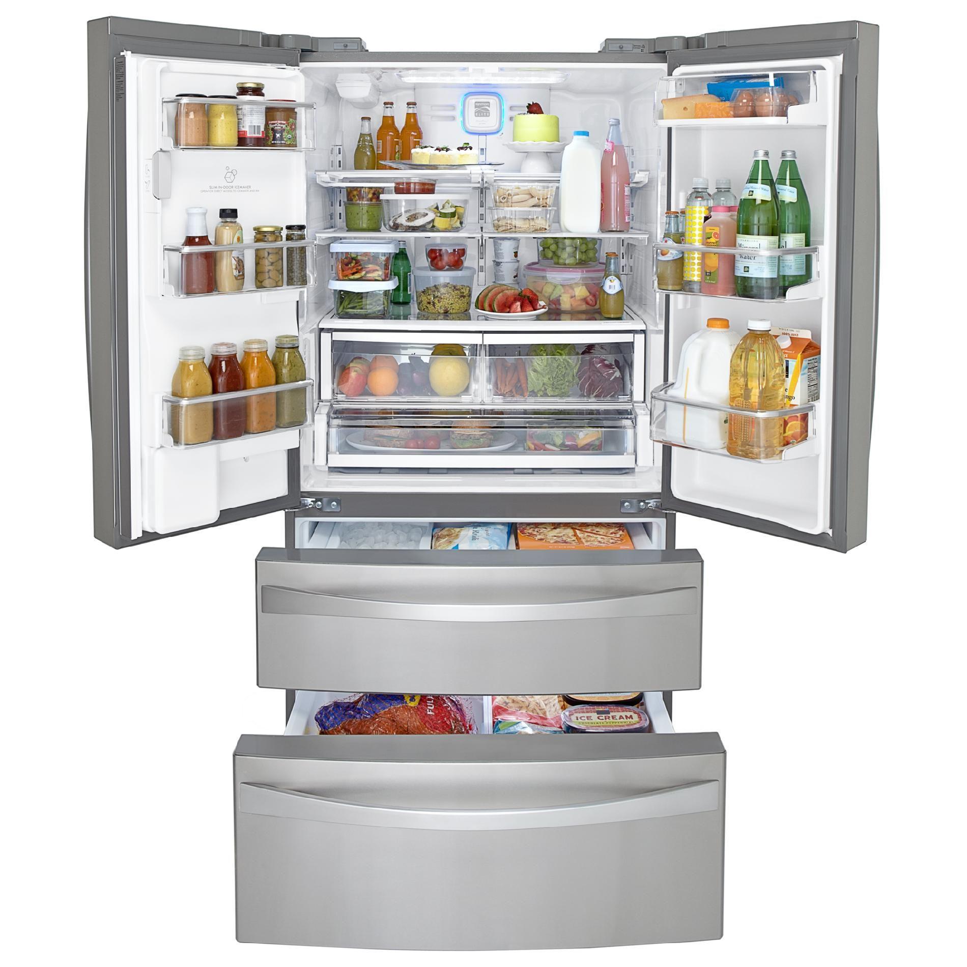 Kenmore Elite 72183 31 0 Cu Ft Dual Freezer French Door Bottom Freezer Refrigerator Stainless Steel In 2020 French Door Bottom Freezer Stainless Steel Refrigerator Bottom Freezer