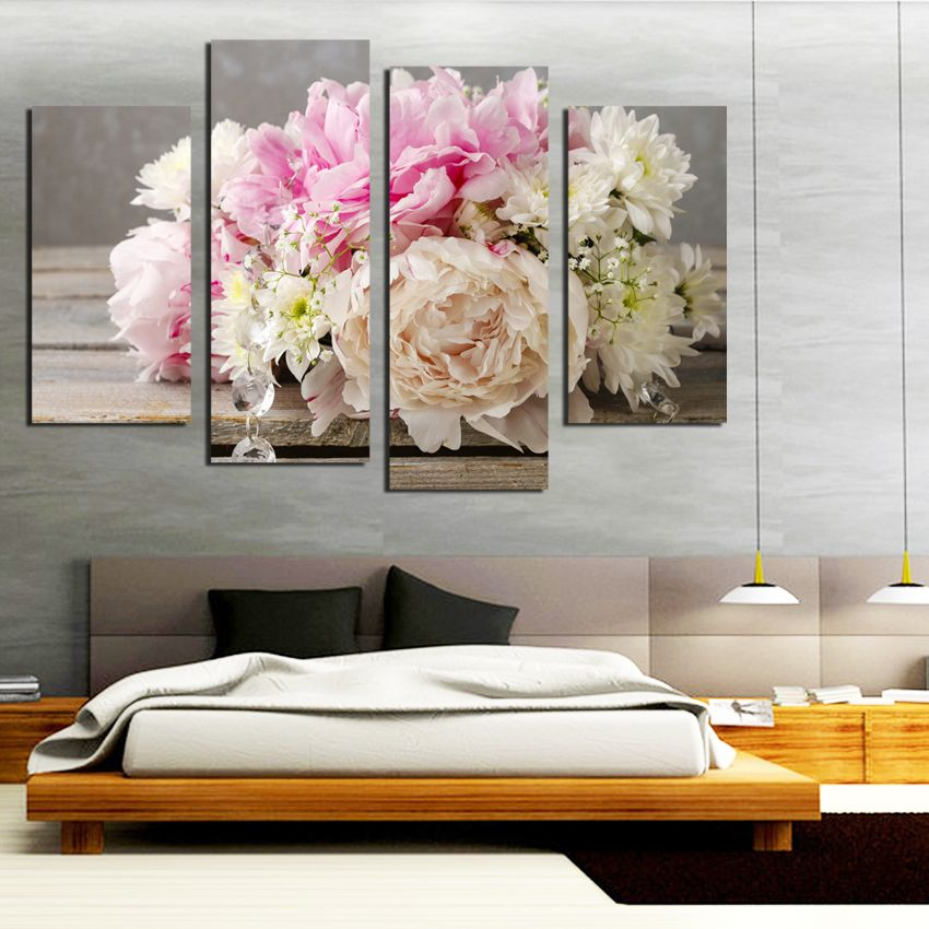 4pcs/set Colorful flowers painting Oil Painting Flower On Canvas