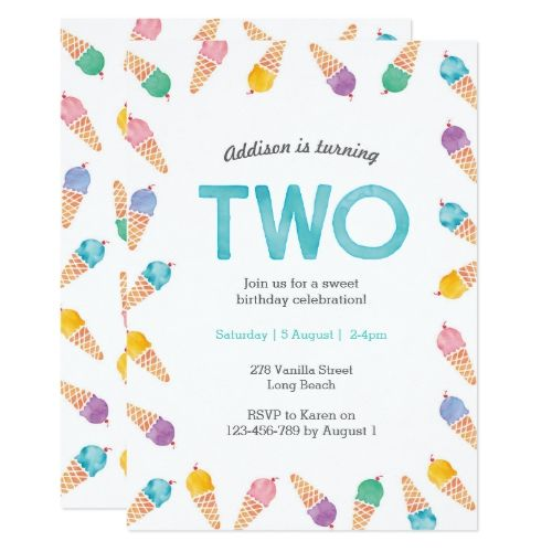 2nd Birthday Party | Rainbow Ice cream invitation | Zazzle.com #icecreambirthdayparty