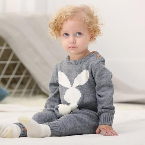 be2902e1e Baby Girls Rompers 3D Rabbit Knitted Toddler Boys Jumpsuits Long Sleeve Newborn  Infant Bunny Onesie Outfits Button Cover Costume
