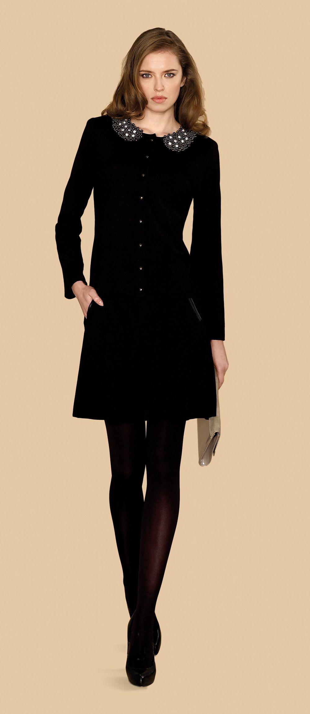 4e1797c2ae9b Vestido de manga larga negro con cuello bebe #trend #fall #winter ...