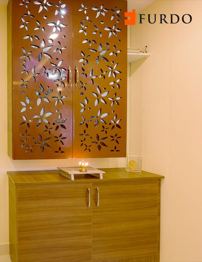 Elegant Wooden Puja cabinet/Mandir with cutouts by Furdo ...