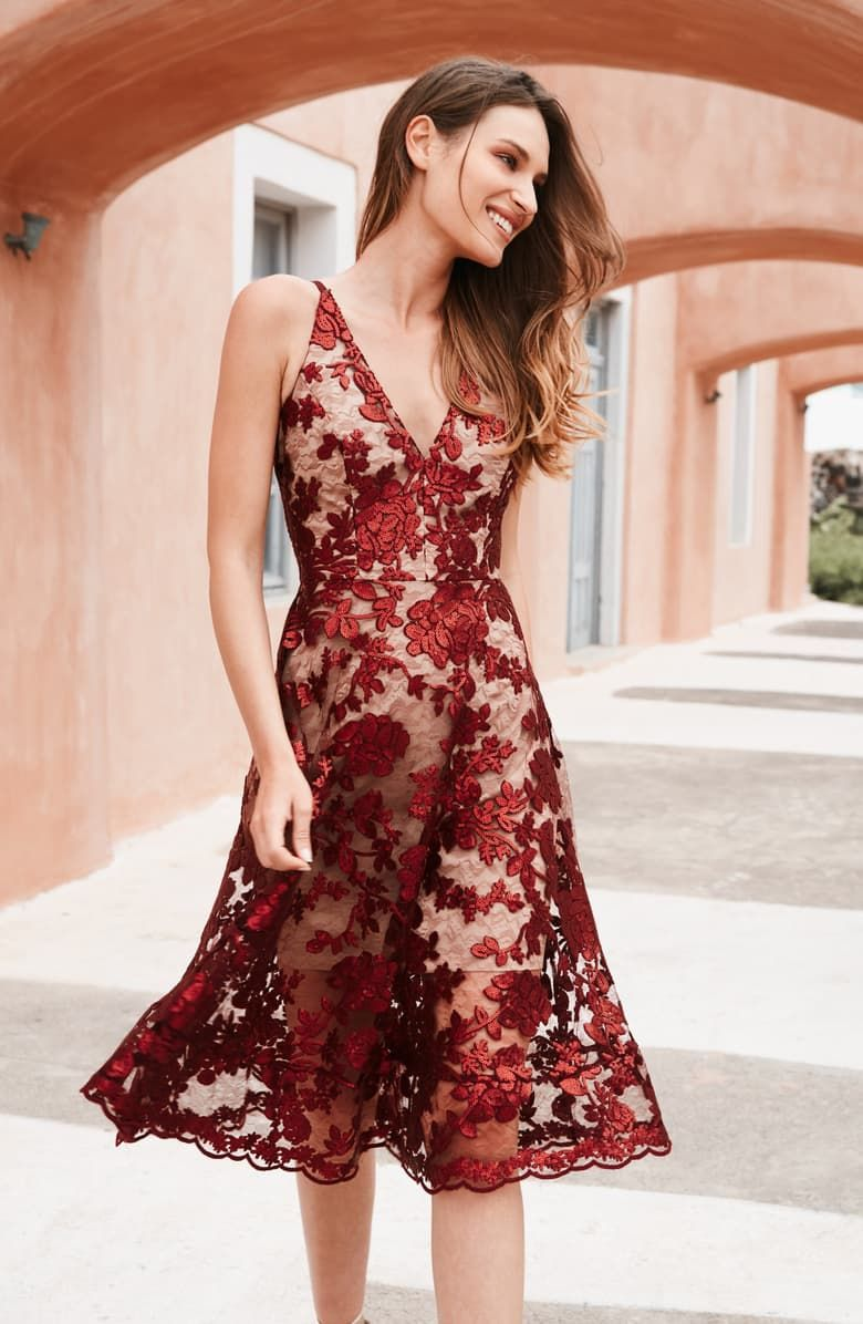 Dress the population maria embellished fit flare dress