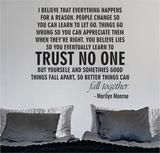 Marilyn Monroe Trust No One Quote Decal Sticker Wall Vinyl Decor Art H – boop decals
