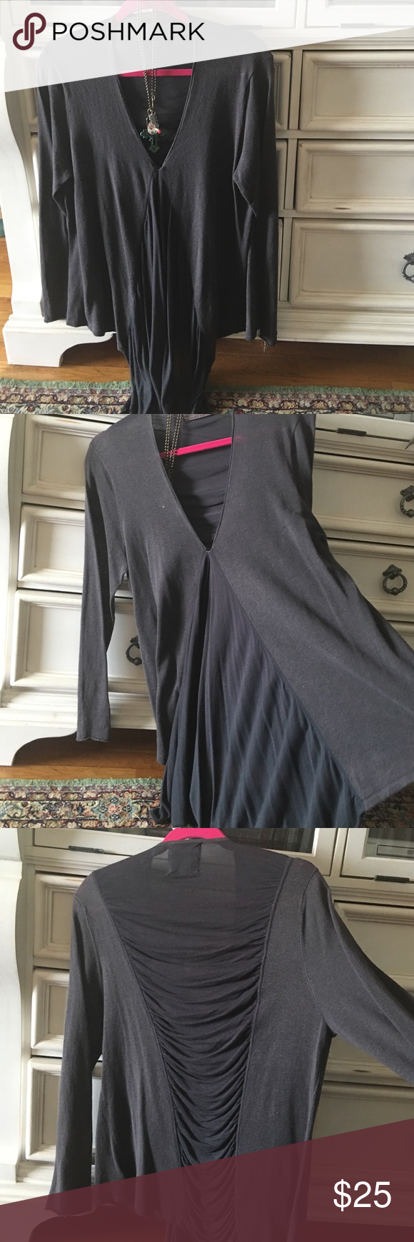 Guinevere grey waterfall lightweight sweater. Grey lightweight top with sheer fall longer at front, sheer middle panel in back. Beautiful barely worn. XL Anthropologie Sweaters V-Necks