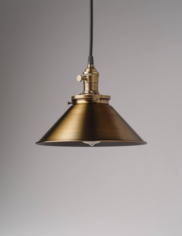 Spun Brass Metal Shade Vintage Industrial Pendant Light Etsy In
