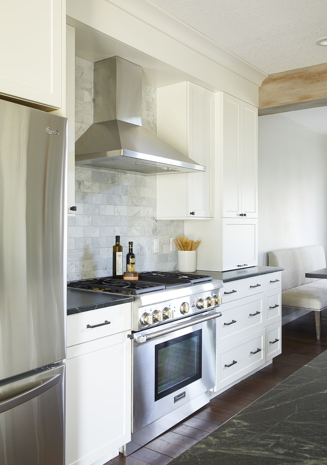 Merging Styles Clean Lined Meets Rustic In This Grimes Iowa Remodel Kitchen Backsplash Trends Replacing Kitchen Countertops Backsplash For White Cabinets