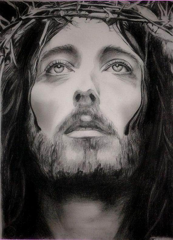 jesus of nazareth drawing custom jesus christ charcoal portrait