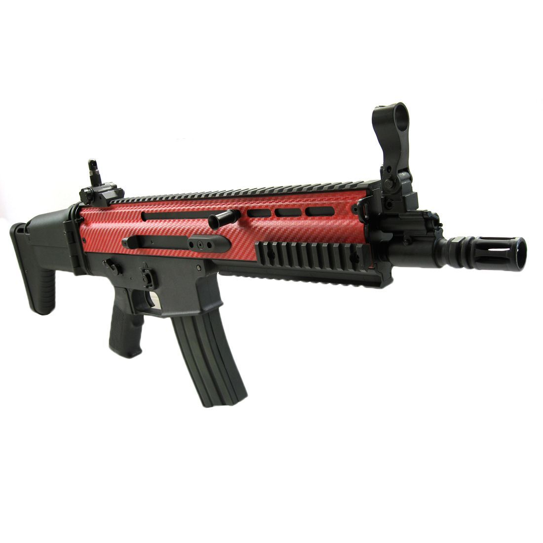 Classic Army Mk16 Airsoft Aeg With Red Carbon Effect Finish Free