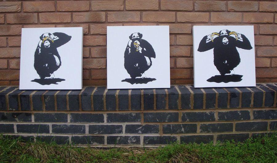 3 Wise Monkeys Spraypaint Stencil On Canvas By Ramart79 Deviantart Com On Deviantart Monkey Art Wise Monkeys Art