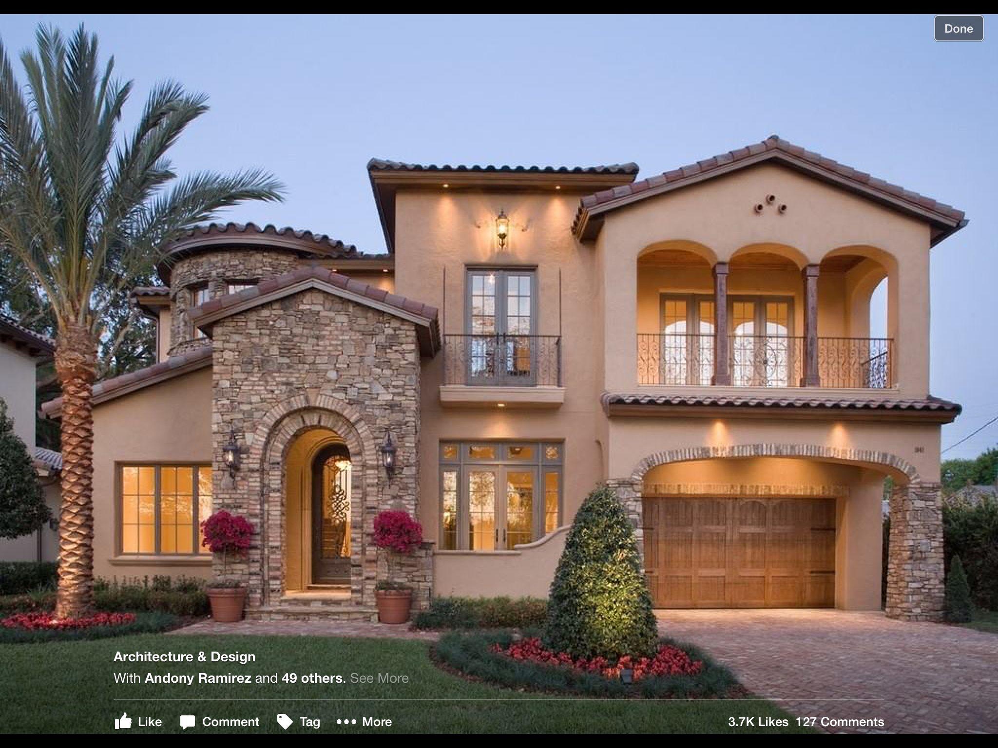 2 Storey House With Stone Entrance Mediterranean House Plan Florida House Plans Mediterranean Homes