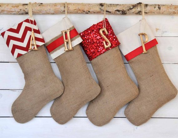 0382ec8ee Personalized Christmas Stocking - Set of 4 - Red   Gold Collection - Christmas  Stockings