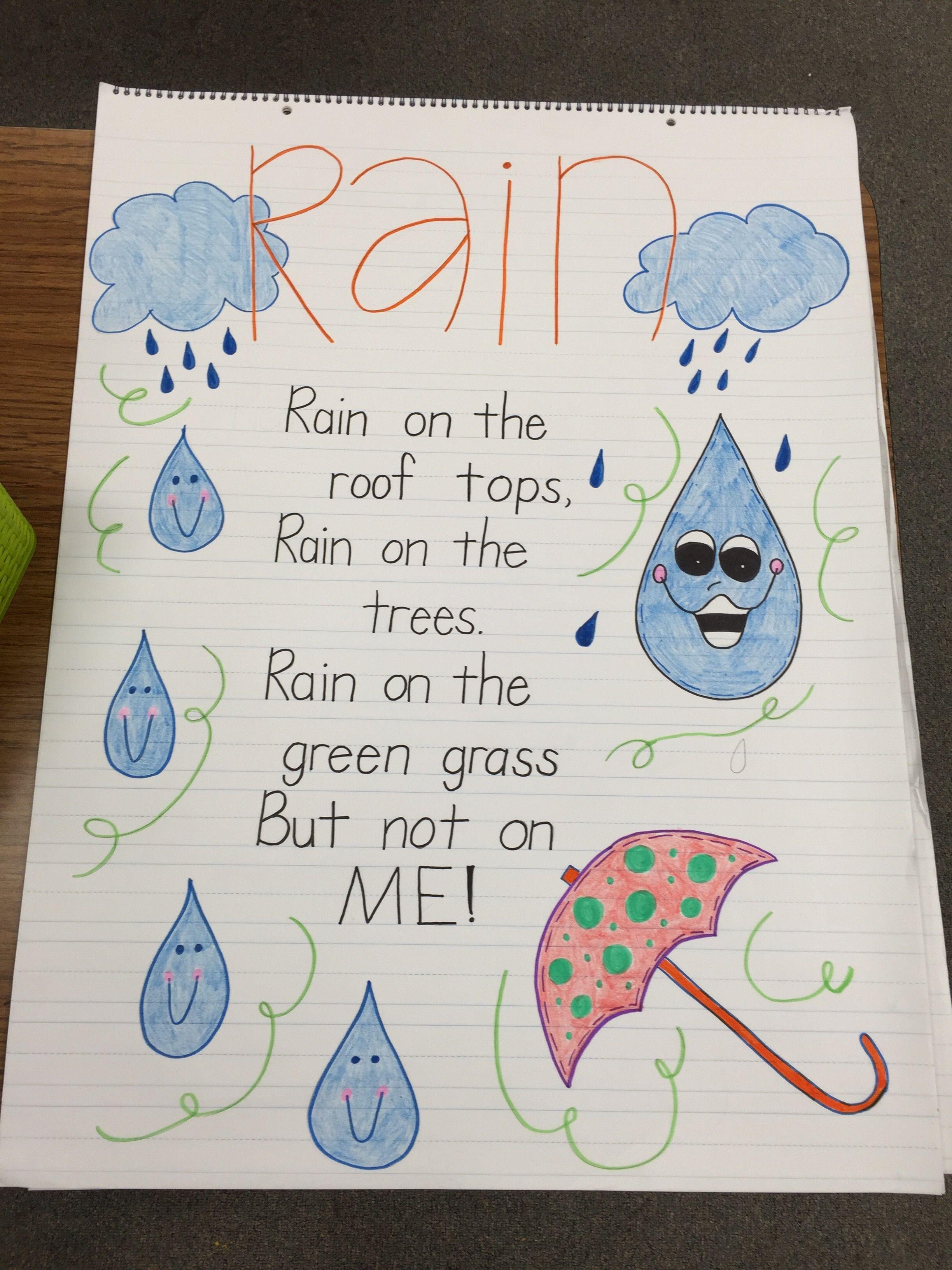 Rain Poem Anchor Chart Kindergarten Anchor Charts First Grade Poems Spring Preschool [ 3264 x 2448 Pixel ]