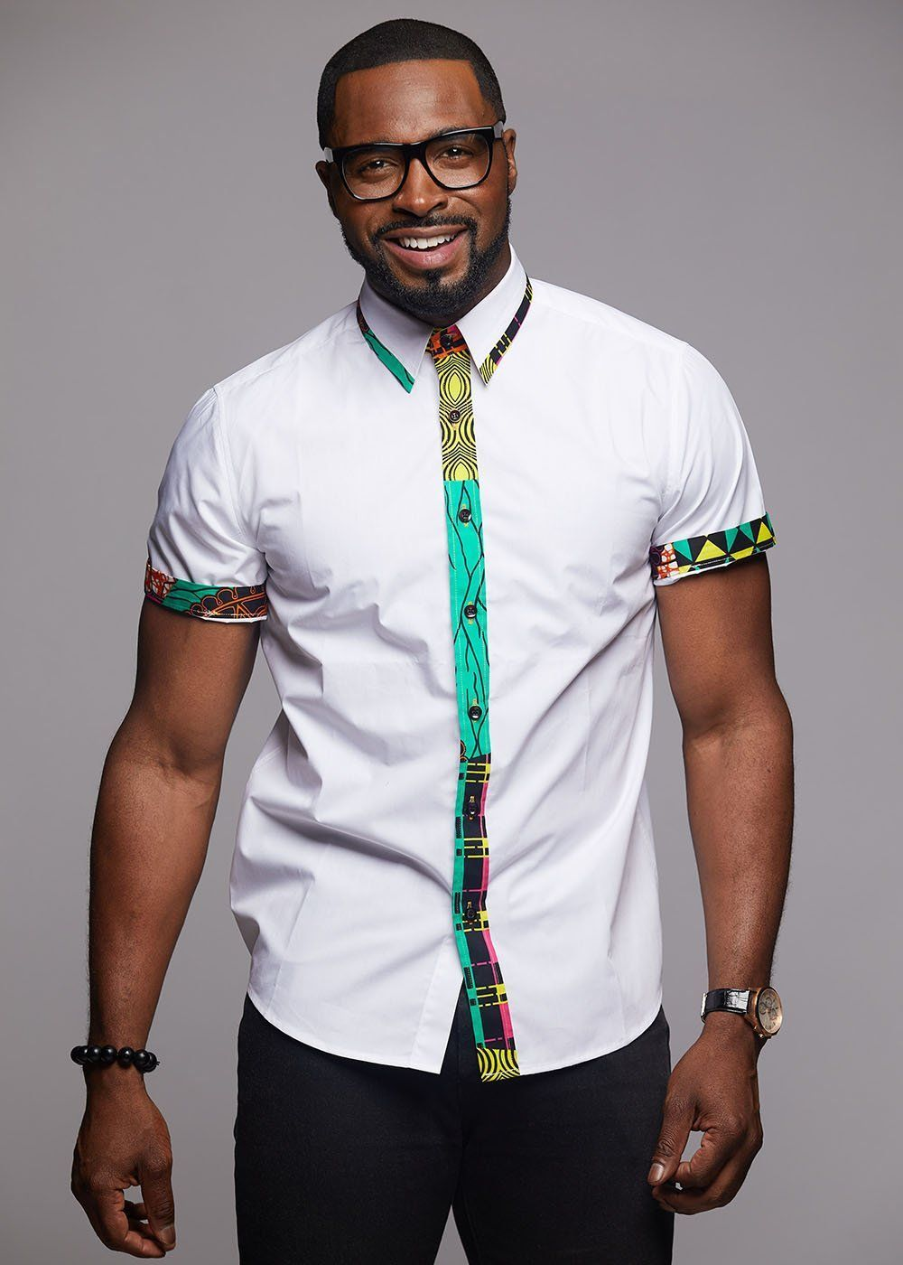 Zaire Button-Up African Print Trim Shirt (Colorful