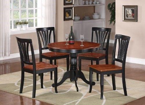 5piece Round Black And Cherry Kitchen Table Set