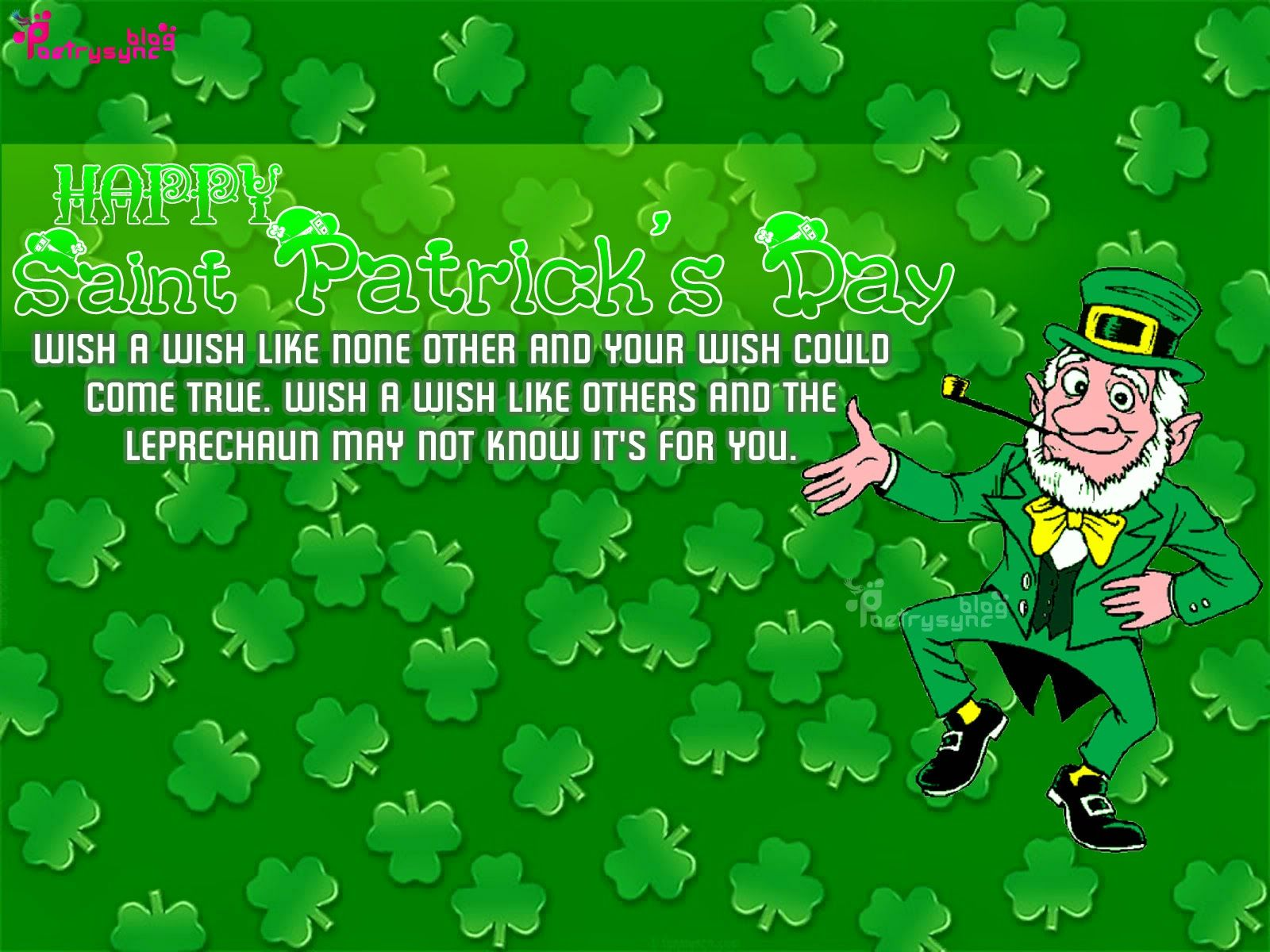 Patty Day Wishes And Greeting Picture Card With Message Saint