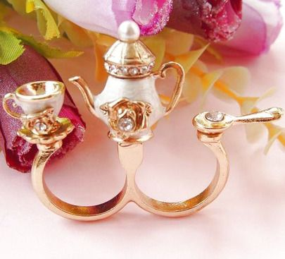 Teapot Cup Spoon Crystal Ring pictures