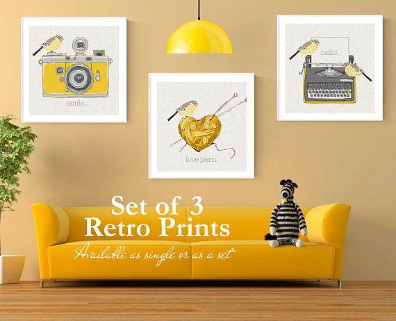 Hearts on canvas silver grey mustard ochre wall art bedroom living room any room