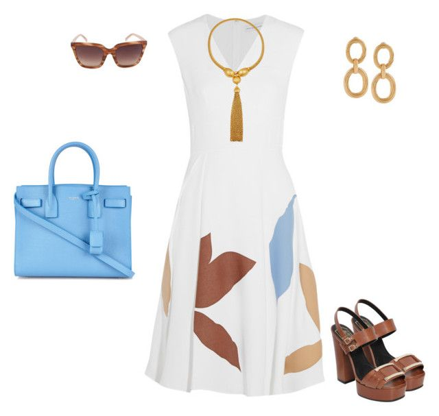 """""""Spring Dress"""" by stylebyjonathan ❤ liked on Polyvore featuring Jonathan Saunders, Roger Vivier, Linda Farrow, Ben-Amun and Yves Saint Laurent"""