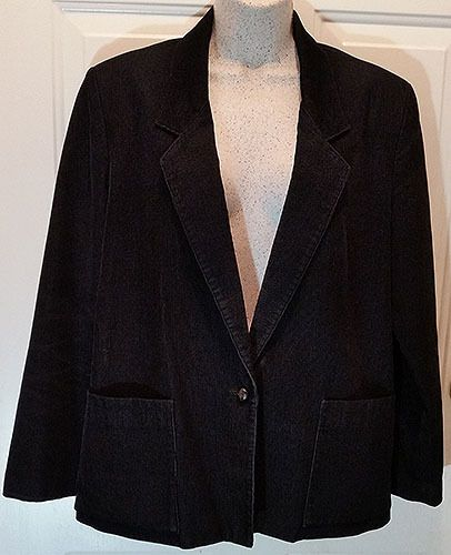 Womens Black Corduroy Blazer Sz 11-12 Lined Cotton Suit Jacket Collections WB3…