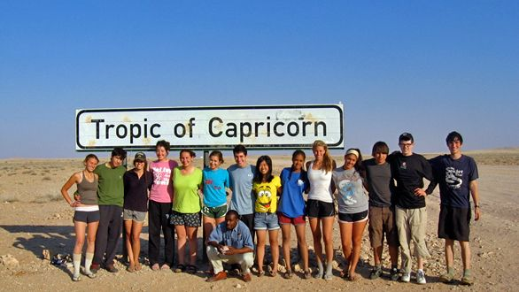 Our 2010 group at the Tropic of Capricorn in Namibia!