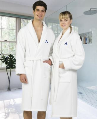 Linum Home Personalized 100% Turkish Cotton Waffle Terry Bathrobe with  Satin Piped Trim - White 10609a2d7