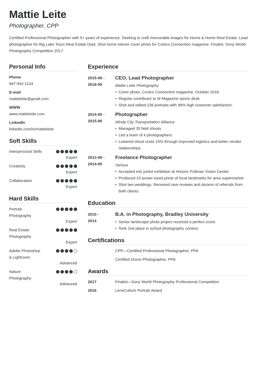 photographer resume example template simple in 2020