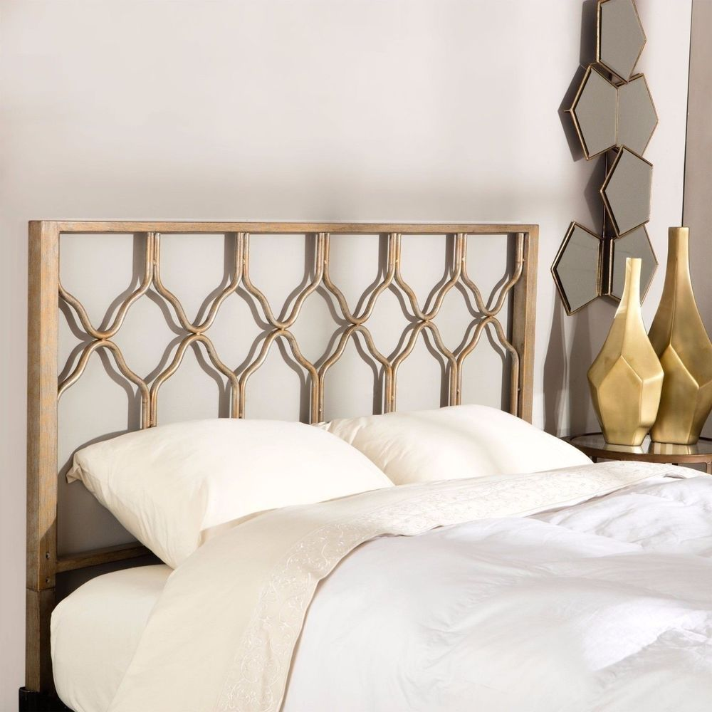 Gold Geometric Hexagon Twin Full Queen King Metal Headboard Bed Frame Mounted Unknown Unknown Metal Headboard Gold Headboard Headboard