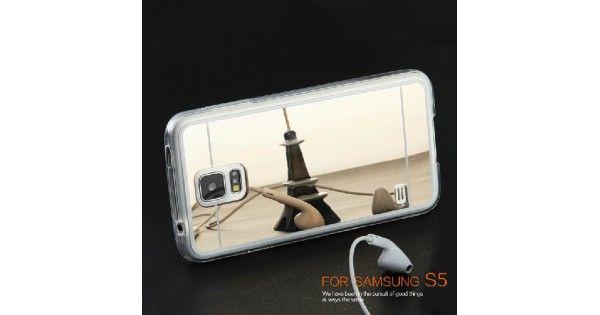 Luxe bescherming met deze unieke mirror tpu case. Dit model is leverbaar voor de Samsung Galaxy S5. Een S5 hoesje welke flexibel is en waarvan de achterkant voorzien is van een zilveren of gold plated metal spiegel. Ideaal voor wanneer je onderweg wilt bekijken hoe je haar zit of dat je lippenstift