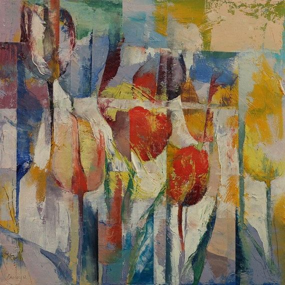 TULIPS 20x20 Tulip Flowers Floral Colorful Abstract by artbycreese, $270.00