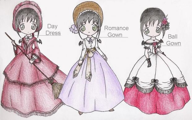 Victorian Anime Dresses Drawing